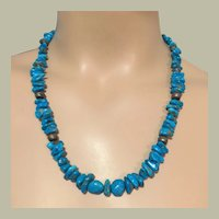 Blue Turquoise Nuggets Necklace Native American Navajo Silver Pearl Beads 56.7 g UNISEX