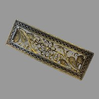 Antique Henrik Lund Norway 830S Silver Pin Brooch Beautiful Cannetille Gilt Silver Filigree 74 mm