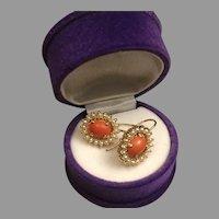 Vintage 14K Gold Italian Red Salmon Coral Seed Pearls Drop Earrings 6.22 g