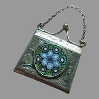 Italian Art Deco Miniature Purse Chatelaine Pendant Millefiori Medallion Chased Silver