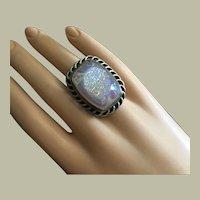 Unique Large Druzy Quartz Agate Silver Ring Simulated Opalescent Effect Size 8
