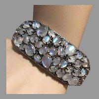 34 Fine Moonstones Bracelet Hinged Bangle Sterling Silver Size 8 Large