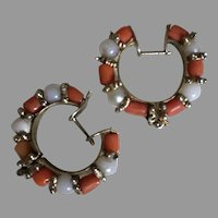 Old Italian Handmade Salmon Coral Hoop Earrings Hinged Hoops Glass Accent Beads 800 Silver 27 mm 7.58 g