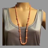 """14K Gold 63.5 g Angel Skin 7 mm Coral Beads Necklace Flapper 35.5"""" Natural Undyed with Carved 11 mm Coral Beads"""