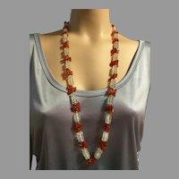 "Vintage Carnelian Rock Crystal Necklace Flapper Hand Cut Stones 37"" Long Bohemian 1970's"