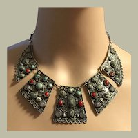 """Nepalese Collar Necklace Red Coral Blue Turquoise Moonstones Sterling Silver 18"""""""