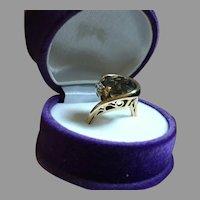 Intricate Retro 14K Gold Cocktail Ring Diamonds Smoky Quartz Size 6.25