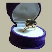 Intricate Retro 14K Gold Cocktail Ring Diamonds Smoky Quartz 5.72 grams Size 6.25