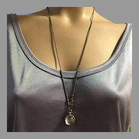 Antique Crystal Ball Double Photo Locket Pendant With Silver Chain Necklace