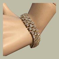 "3 Rows CZ Gilded Silver Tennis Bracelet 7.75"" Gold on Sterling Silver Elegant Bridal"