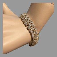 "Vintage Three Rows CZ Tennis Bracelet 7.75"" Gold Plated Sterling Silver Elegant Bridal"