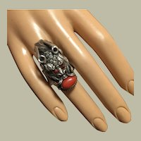 Vintage Fighting Dragon and Mediterranean Red Coral Ring Highly Ornate Silver Size 9
