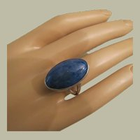 Vintage Large Blue Sodalite or Lapis Lazuli Sterling Silver Ring 23 mm Size 7.25