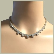 """Beautiful Tennis Linked Necklace Sterling Silver Cubic Zirconia 16.25"""" Long BRIDAL"""