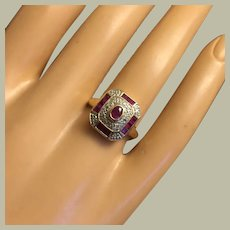 Lovely 14K Gold 0.70 carat Natural Ruby Art Deco Style Engagement Ring Size 6.5