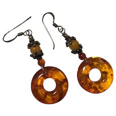 "Vintage Baltic Amber with Inclusions Drop Dangle Earrings Sterling Silver 2"" or 50 mm"
