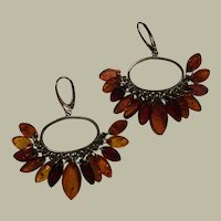 Extravagant Poland Baltic Amber Chandelier Earrings With Amber Tassels 57 mm