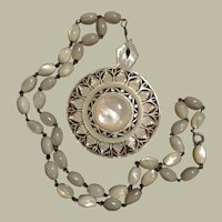 Antique Exquisite Carved Mother of Pearl Bethlehem Pendant on MOP Bead Silver Necklace