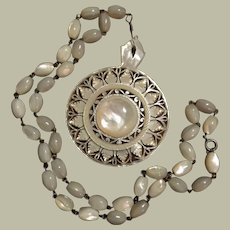 """Antique Exquisite Carved Mother of Pearl Bethlehem 58 mm Pendant 21"""" MOP Bead Silver Necklace"""