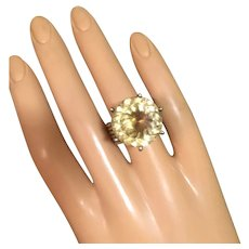 Huge Natural Citrine Cocktail Ring Vermeil Silver Size 8