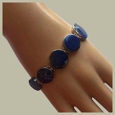 """Unisex Lapis Lazuli Graduated Linked 8"""" Long Bracelet Silver"""
