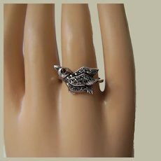 Little Bird with Garnet Eyes Ring Sterling Silver Marcasites Promise Ring Size 6