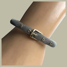 """Tres Chic 18K Gold Buckle and Round Clasp Bracelet Stainless Steel Mesh 7"""" Long Signed Spanish Designer"""