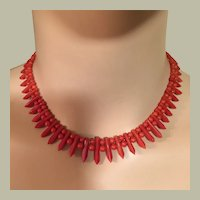"Antique Victorian Red Coral Mediterranean Pickets & Berries Collar Bib Necklace 14K Gold 25.80 grams 15.75"" Long"