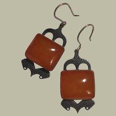 Russian Honey Amber Dangle Earrings in Textured 875 Silver 6.85 grams 46 mm