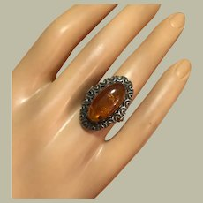 Elegant Russian Art Deco Baltic Amber with Inclusions Silver Ring Size 5.75