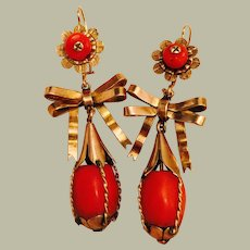 Antique Mediterranean Red Coral in Large 10K Gold Bow Chandelier Earrings 11.9 grams 54 mm long