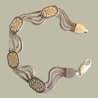"""Four Shadowbox Charms Stations on Multi Row Chains Bracelet Gold over Sterling Silver 7"""""""