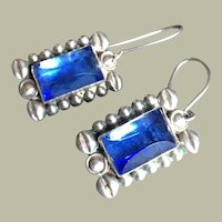 Old Art Deco Mexican Drop Dangle Earrings with Perfect Blue Sapphire Glass in Sterling Silver