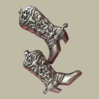 Collectible 1940's Cowboy Boots with Long Horn Bulls and Lone Stars Repousse Silver Earrings Screw Backs 30 mm