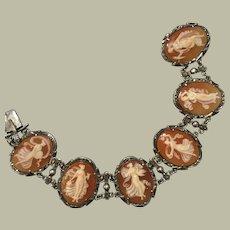 "Magnificent Antique 6 Fairies Graces Goddesses Maidens Dancing Cameos Bracelet Marcasites Silver 6 Different Cameos 7.25"""