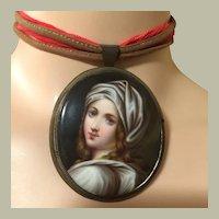 "Antique Italian Renaissance Beauty with Scarf Portrait on Porcelain Pendant Pin Brooch 3"" x 2.25"""