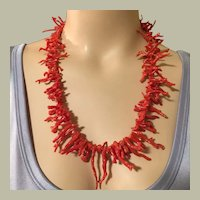 """82.30 grams Natural Very Red Coral Necklace 24"""" Long Graduated Coral Branches Mid Century"""