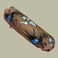 """Art Deco Chinese Export Bracelet Black Running Horses Jade Enamel Gold on Silver 6 7/8"""""""