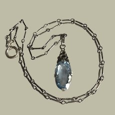 Antique Blue Spinel in Sterling Silver Pendant on Antique Silver Chain Necklace