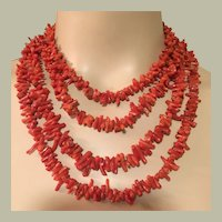 """157 grams 81"""" Long Natural Red Coral Tomato Salmon Very Long Necklace Mid Century"""