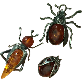 Mid Century 45 mm Cicada 32 mm Beetle 23 mm Lady's Bug Baltic Amber Trio Brooch Pin Sterling Silver