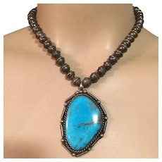 Beautiful Old Pawn Navajo Turquoise Pendant on Silver Pearl Bench Beads Southwestern Necklace