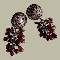 Vintage Garnet Grape Cluster Dangle Earrings Silver 47 mm 15.39 g