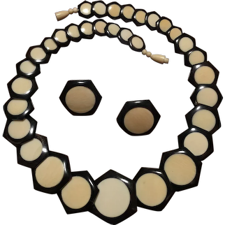 Elegant Inlay Black and White Faux Ivory Necklace and Earrings French Ivory Late 1930's Art Deco