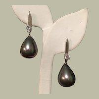 Fancy Vintage Earrings Faux Tahitian Pearls Dangles Sterling Silver