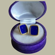 Vintage 14K Gold True Blue Lapis Lazuli Studs Earrings 3.41 g
