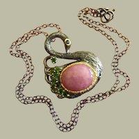 Lovely Natural Pink Ruby/ Sapphire Cabochon Swan Bird Pendant Necklace Green Garnet Tsavorite Silver