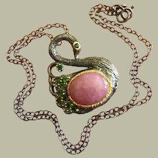 Lovely Natural 7 carat Pink Ruby/ Sapphire Cabochon Swan Bird Pendant Necklace Green Garnet Tsavorite Silver