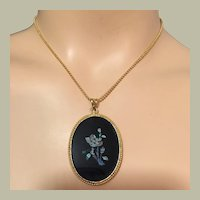 Very Special Opal Mosaic Rose Flower and Rose Buds Pendant Necklace Gold Filled