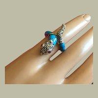 Vintage Snake Ring Natural Ruby Eyes Blue Turquoise Enamel Marcasites Silver Size 6.75